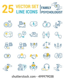 Set of icons in linear style on the subject of family psychological process.
