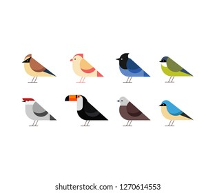 set of icons litte birds in flat style