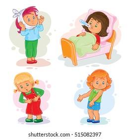 Set icons little girl sick