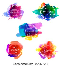 Set of icons, logo templates with watercolor texture and splash. Place for your text. vector