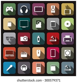 Set of icons with long shadow digital devices, vector illustration.