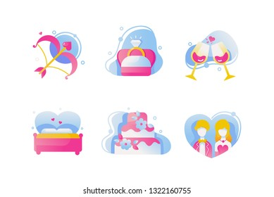 Set icons with love bow, wedding ring, wine, cake, couple, romance bed. Concept collection modern symbols for valentines day, internet, ad, web. Pixel perfect Vector illustration