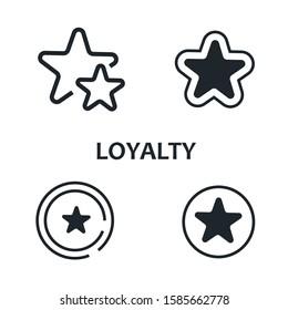 Set of icons for the loyalty program. Line icons. Bonus program. Vector.