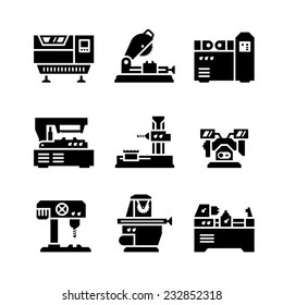 Set icons of machine tool isolated on white. Vector illustration