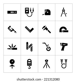 Set icons of measuring tools isolated on white. Vector illustration