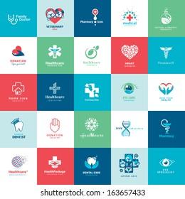 Set of icons for medicine, healthcare, pharmacy, veterinarian, dentist