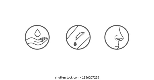 Set of icons. Medicine. Hygiene. Hand treatment. A cut. Open wound. Nose.