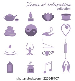 Set of icons meditation: aero lamp, incense, candle, girl, yoga, kettle and a cup, a drop of water, hands, symbol of balance, notes, heart, lotus third eye, shower gel