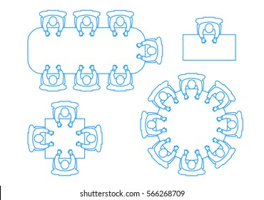 A set of icons a meeting of businessmen at a table the top view.