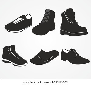 Set of icons of men's shoes