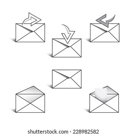 Set of icons for messages. Vector illustration