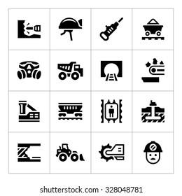 Set icons of mining isolated on white. Vector illustration