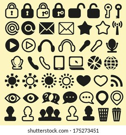 Set of Icons for Mobile, Media and Web