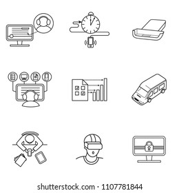 set of icons for mobile virtual reality and working in the office