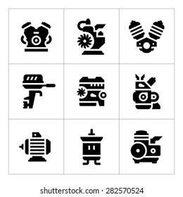 Set icons of motor and engine isolated on white. Vector illustration