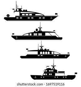 Set icons of motor yachts.Vector silhouette motor yachts.