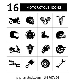 Set icons of motorcycle isolated on white. Vector illustration