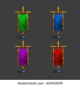 Set of icons of multicolored medieval vertical flag with flagpole for game. Vector illustration.