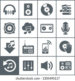 Set of icons music. A vector illustration