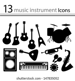 Set of icons of musical instruments (Vector)