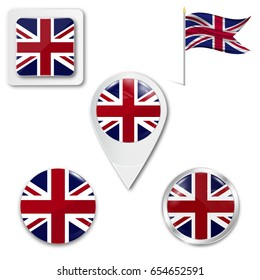Set Of Icons The National Flag Great Britain In Different Designs On A White