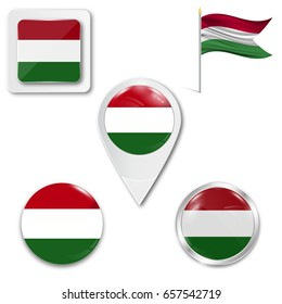 Set of icons of the national flag of Hungary in different designs on a white background. Realistic vector illustration. Button, pointer and checkbox.