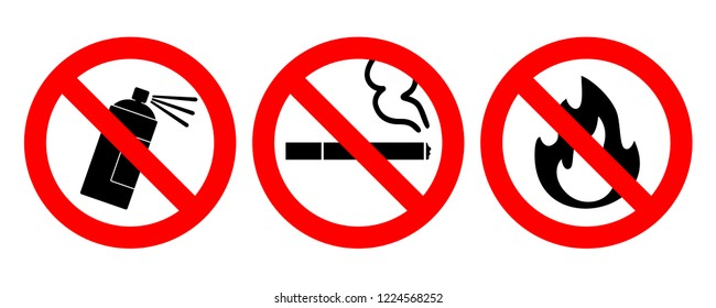 Set of icons no aerosol spray sign, no smoke and no fire vector illustration, red prohibition circle, for wall, buildings, public places, hotel room. Fire alarm will be triggered by cigarette smoke.