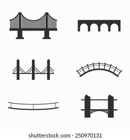 Set of icons on bridges theme
