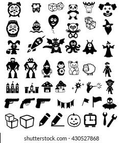 set of icons on children's toys