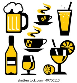 set of icons on the drink and beverages. Vector icons in two colors