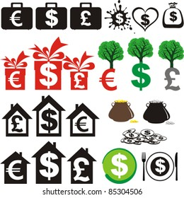 Set of icons on the financial theme isolated on White background. Vector illustration