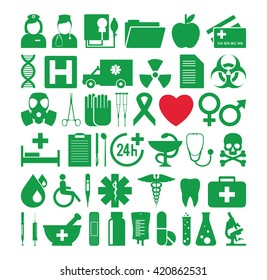 Set of icons on a medical theme. Vector illustration.