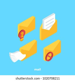 set of icons on the subject of mail, isometric image