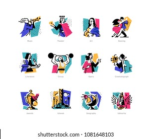 A set of icons on the theme of art forms. Music, choreography, singing, literature, theater, circus. Vector flat illustration. Hobbies of creative people. Icons for the site, banner and print.