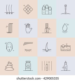 Set of icons on the theme of beauty and health of hair, skin and nails. Made in trendy line style vector. Emblems for cosmetics, pharmaceuticals, manicure salons. Medical cosmetology.