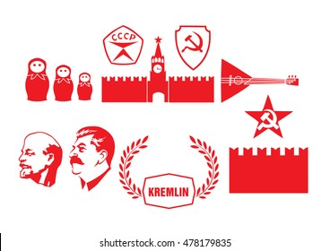 Set of icons on a theme of Communist Russia. Icons of the USSR, the Kremlin and nesting dolls
