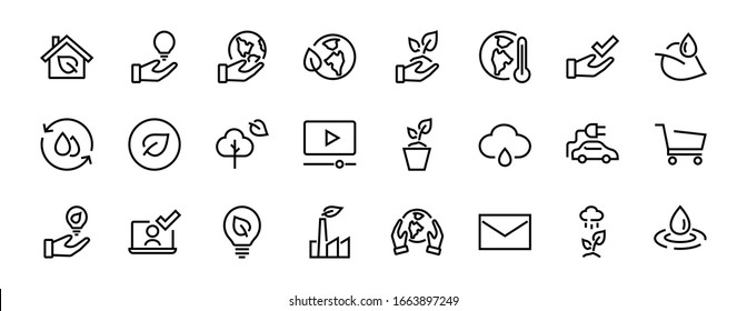 Set of icons on the theme of Ecology, vector lines, contains icons such as electric car, global warming, forest, eco, watering plants and much more. Editable stroke, White background