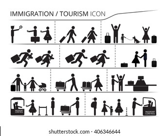 The set of icons on the theme of immigration and tourism. Emigrant / Refugee series