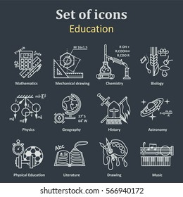 Set of icons on a theme school education. 12 academic subjects. Illustration Vector