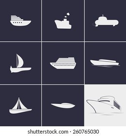 Set of icons on a theme ships