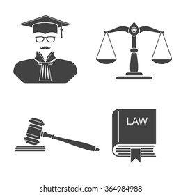 Set icons on white background scales, balance,  gavel, book laws,  judge silhouette. Law and justice. Vector illustration.