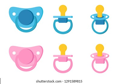 Set icons of pacifier baby dummy care nipple for newborn child , pacifiers/baby dummies blue for boy and pink for girl in diffetent view position isolated on white background. Vector illustration.