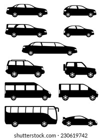 set icons passenger cars with different bodies black silhouette vector illustration isolated on white background