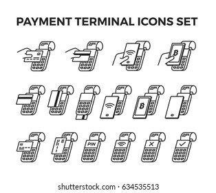 Set of icons payment by terminal.  Contains: pay by credit card, debit card, bitcoin,  smartphone; payment declined, accept; payment by wifi, nfc, pin; hand holding card and smartphone.