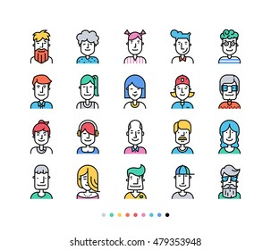 Set of Icons people avatars for profile page, social network, social media.  Avator collection with different age man and woman characters, profession. Vector, Flat, line,  colorful