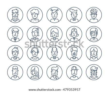 Set Of Icons People Avatars For Profile Page Social Network Media Avator