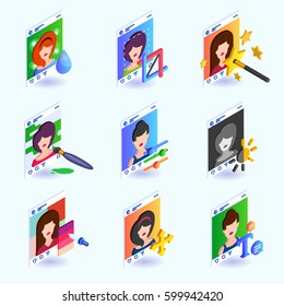 Set icons of photo editing instruments for a social network. Isometric vector illustration.