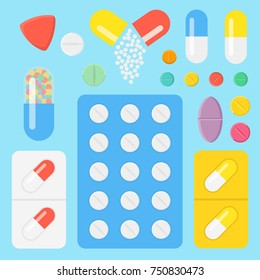 Set of icons pills and capsules. Medicament concept. Tablets in blisters: painkillers, antibiotics, vitamins and aspirin. Pharmacy and drug symbols.  Flat vector illustration.
