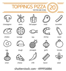 graphic about Printable Pizza Toppings called Pizza Toppings Icons Shots, Inventory Images Vectors