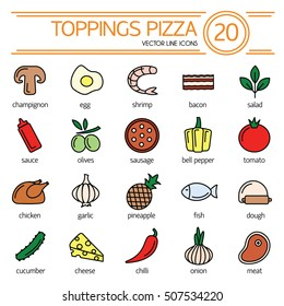 Set icons of pizza ingredients isolated on white. Vector clip art of pizza toppings. Outline icon collection